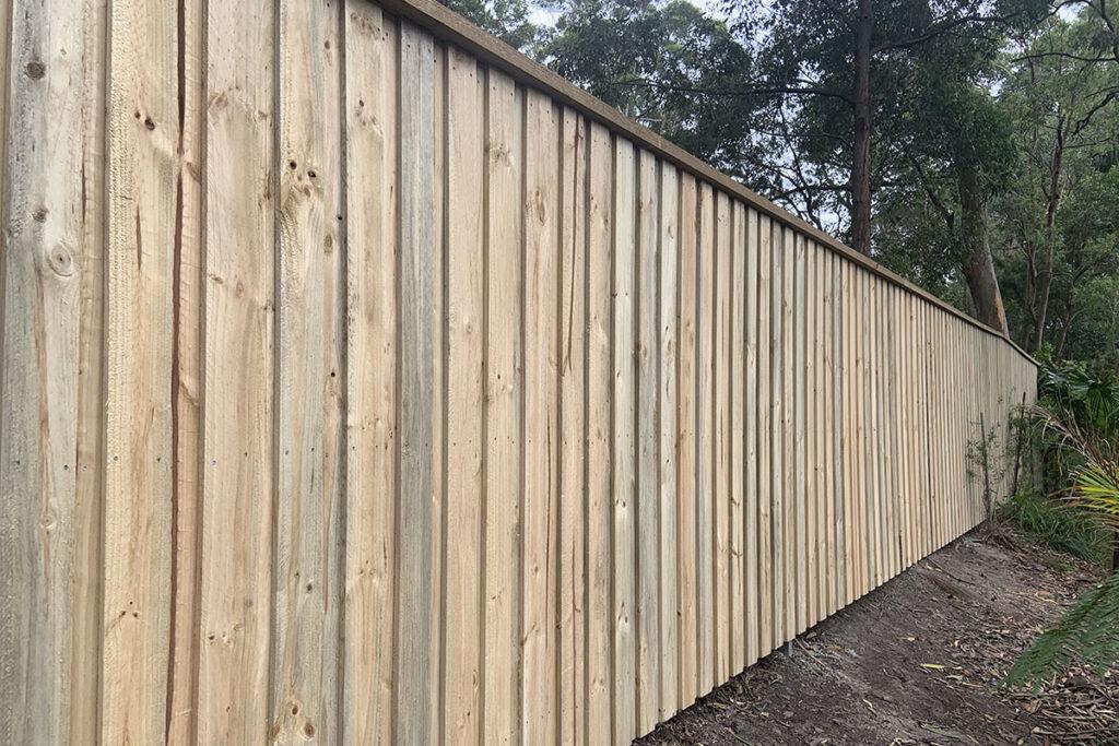 slat timber fence central coast